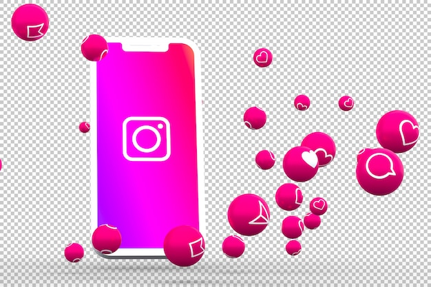 Instagram icon on screen smartphone or mobile and instagram reactions love 3d render Premium Psd