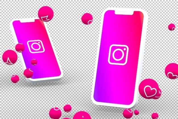 Instagram icon on smartphone screens with emojis Premium Psd