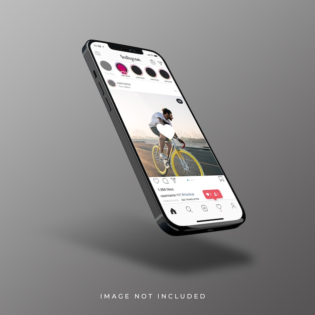 Instagram interface on 3d realistic rendering of smartphone Premium Psd