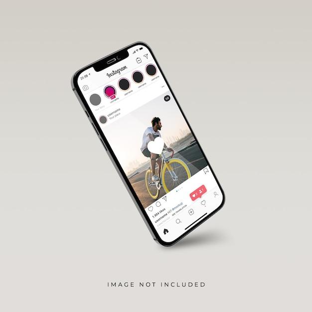 電話モックアップの3dリアルレンダリングのinstagramインターフェース Premium Psd