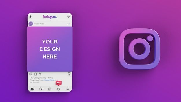 Instagram interface for social media post mockup 3d render
