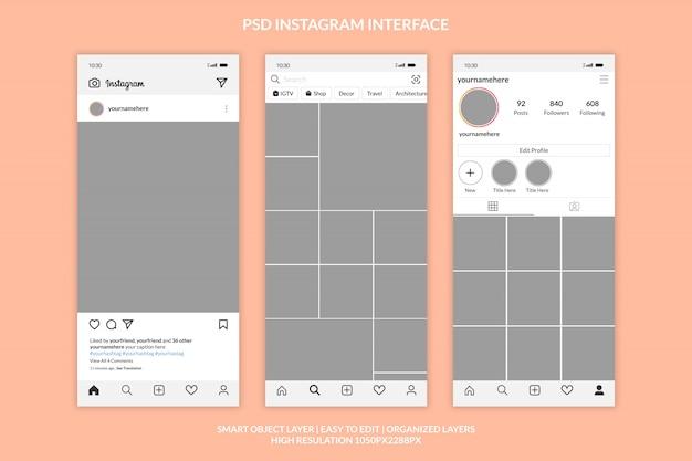 Шаблон интерфейса instagram премиум Premium Psd
