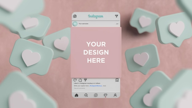 Instagram mockup interface of social media post 3d render