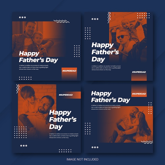Instagram post bundle father's day template Premium Psd