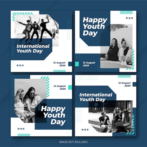 Почтовый пакет instagram для международного дня молодежи Premium Psd