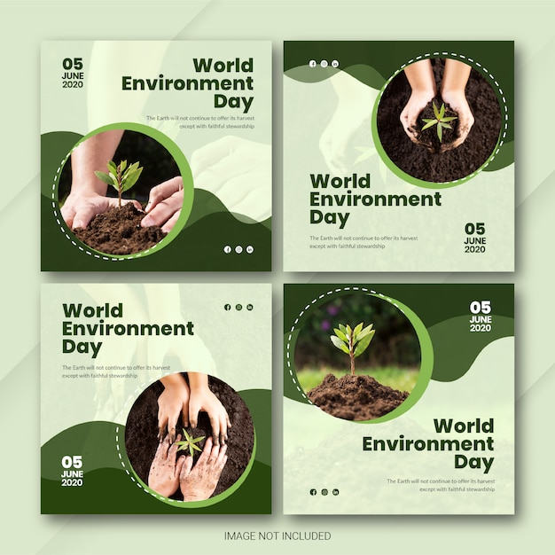 Instagram post bundle world environment day template Premium Psd