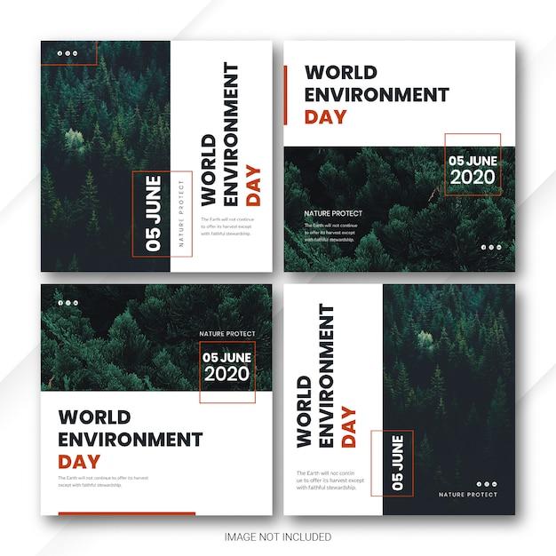 Instagram post bundle world environment day template Premium Psd