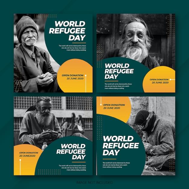 Всемирный день беженцев в instagram Premium Psd