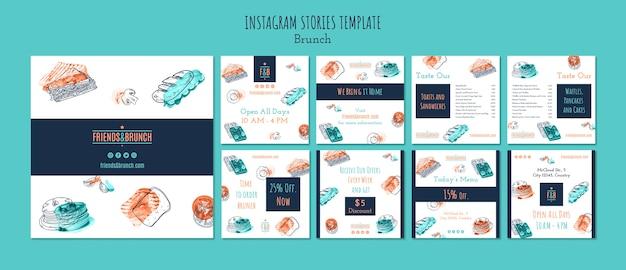 Instagram post collection for brunch restaurant Free Psd