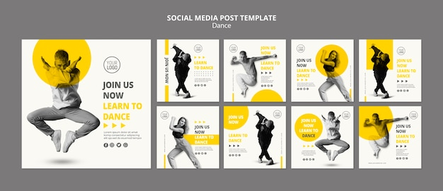 Instagram post collection for dance lessons Premium Psd