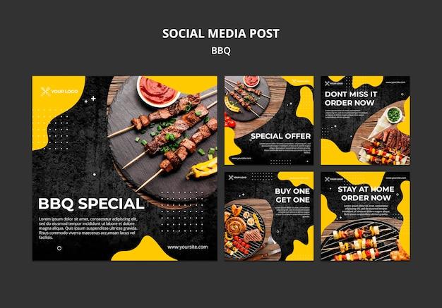 Коллекция постов в instagram для барбекю-ресторана Premium Psd
