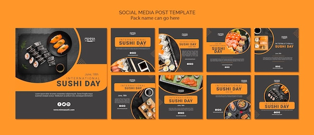 Коллекция постов в instagram к международному дню суши Бесплатные Psd