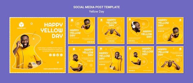 노란 날 인스 타 그램 포스트 컬렉션 무료 PSD 파일