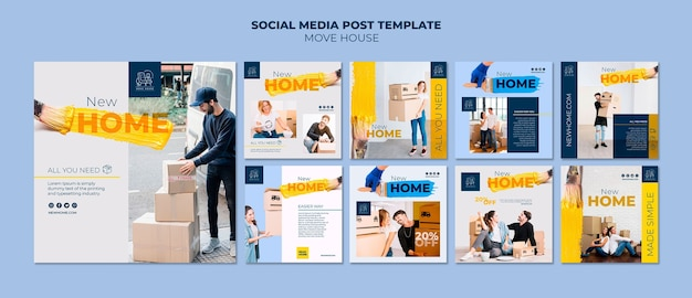 Instagram post collection for home relocation services Free Psd