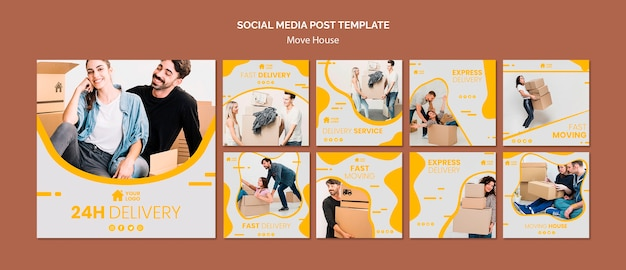 Instagram post collection for house moving company Free Psd