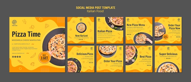 Instagram post collection for italian food bistro Free Psd