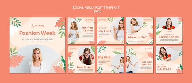 Instagram post collection for spring fashion week Free Psd
