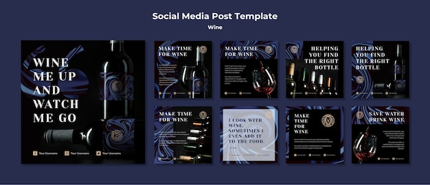 Instagram post collectionfor wine business Free Psd