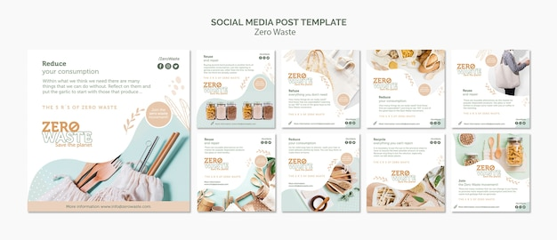 Instagram post collection for zero waste lifestyle Free Psd