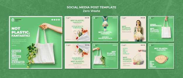 Instagram post collection for zero waste Free Psd