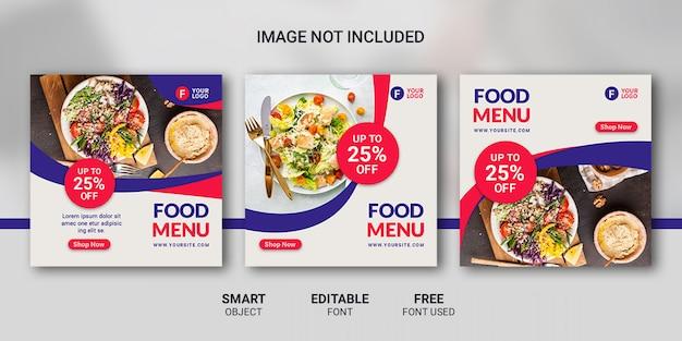 Instagram post food menu template Premium Psd