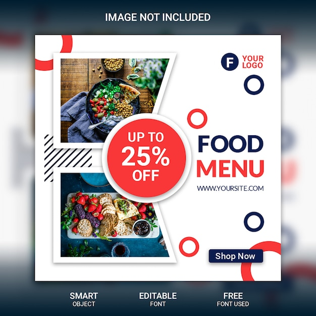 Instagram post foodメニューテンプレート Premium Psd