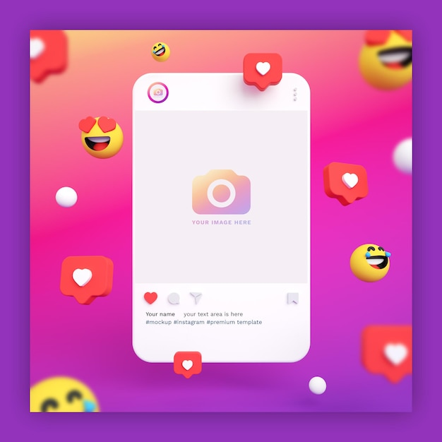 Instagram post mockup 3d with emojis and heart icons Premium Psd