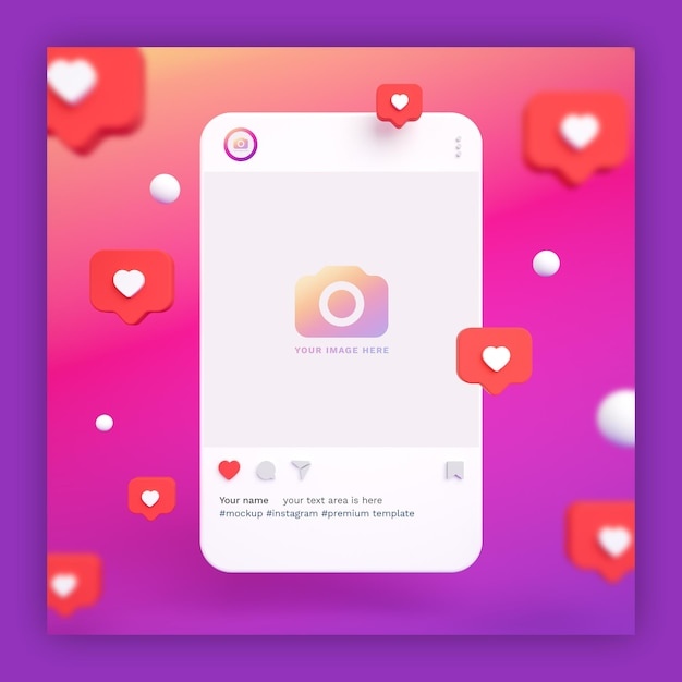 Instagram post mockup 3d with heart icons Premium Psd