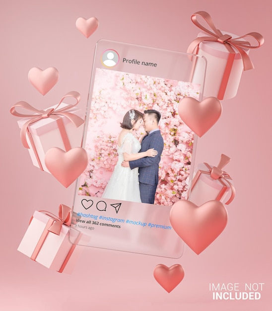 Instagram post mockup on glass template valentine wedding love heart shape and gift box flying Premium Psd