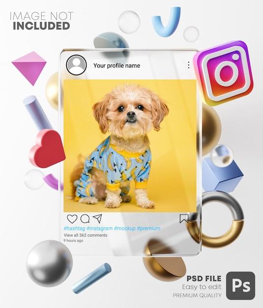 3d 현대 모양 사이의 유리 프레임에 Instagram 포스트 모형. 밝은 배경에서 프리미엄 PSD 파일