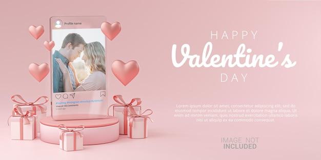 Glassテンプレートバナーバレンタインウェディングのinstagram投稿モックアップ Premium Psd