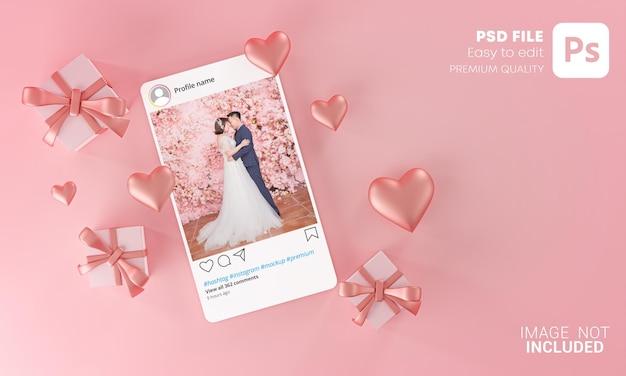 Instagramの投稿モックアップテンプレートバレンタインの結婚式の愛のハートの形とギフトボックスの飛行 Premium Psd