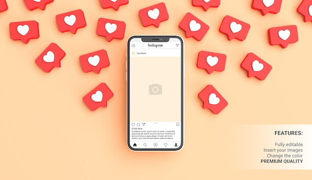 같은 알림으로 둘러싸인 전화가있는 Instagram 게시물 모형 프리미엄 PSD 파일