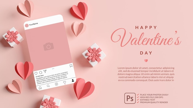 Instagram post mockup with pink hearts and gifts for valentines day in 3d rendering Premium Psd
