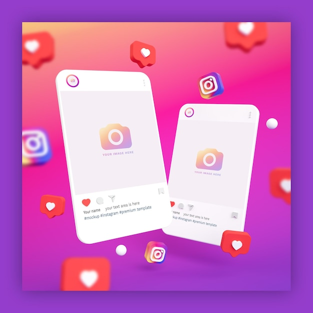 Instagram post mockups 3d with heart and instagram icons Premium Psd