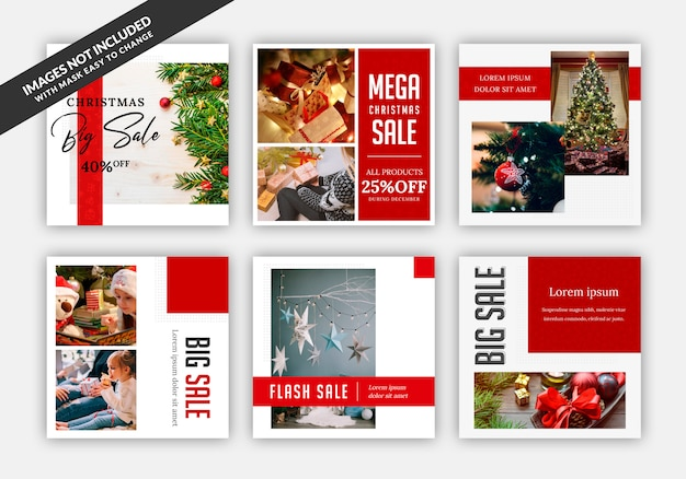Instagram post sale square banner template with christmas theme Premium Psd