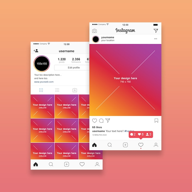 Instagram post set Premium Psd