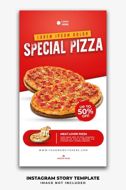 Instagramの投稿ストーリーバナーテンプレートレストランファーストフードメニューピザ Premium Psd