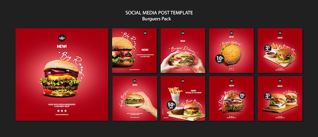 Instagram post template for burger restaurant Free Psd