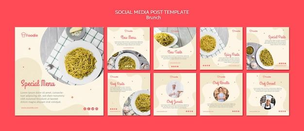 Instagram пост коллекция шаблонов для ресторана Бесплатные Psd