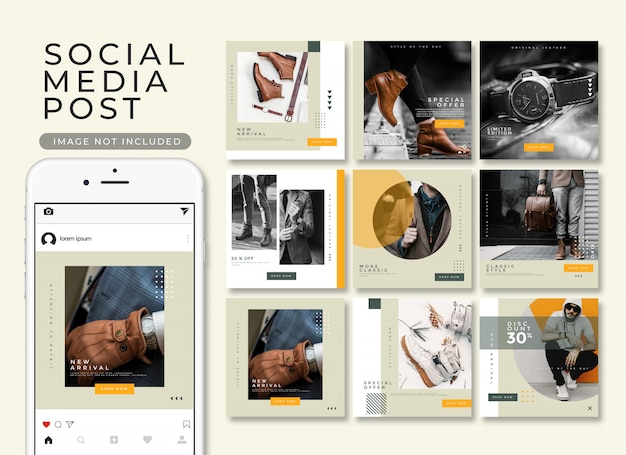 Instagram post template collection Premium Psd