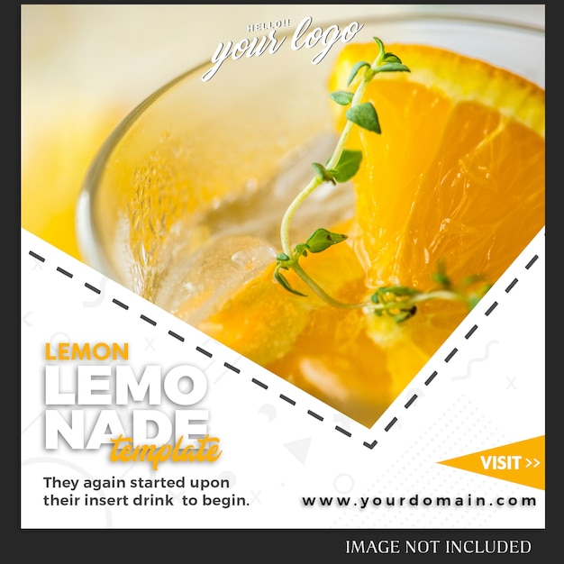 Instagram post template for drink food recipe or lifestyle Premium Psd