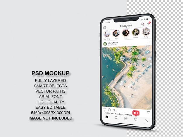 Instagram пост шаблон для профиля и кормить истории на смартфоне. перспективный макет мобильного телефона Premium Psd
