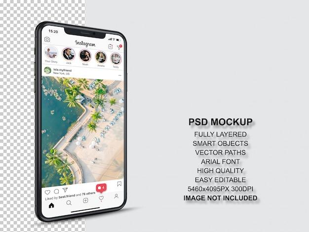 스마트 폰의 프로필 및 피드 스토리를위한 Instagram 게시물 템플릿. 투시도 휴대 전화 모형 프리미엄 PSD 파일