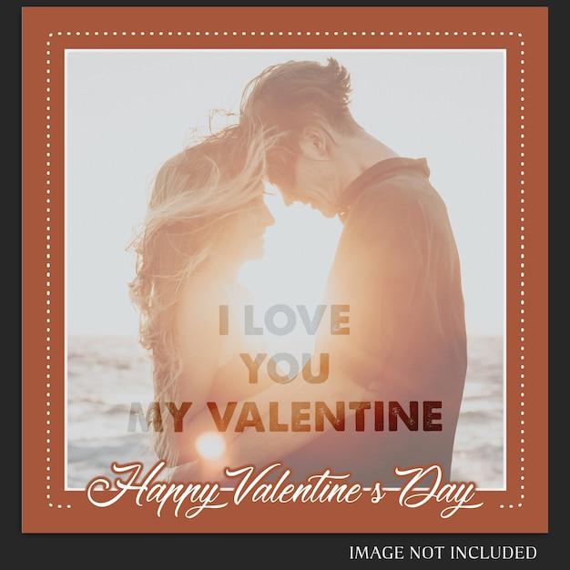 Творческий современный романтический день святого валентина instagram post template и photo mockup Premium Psd