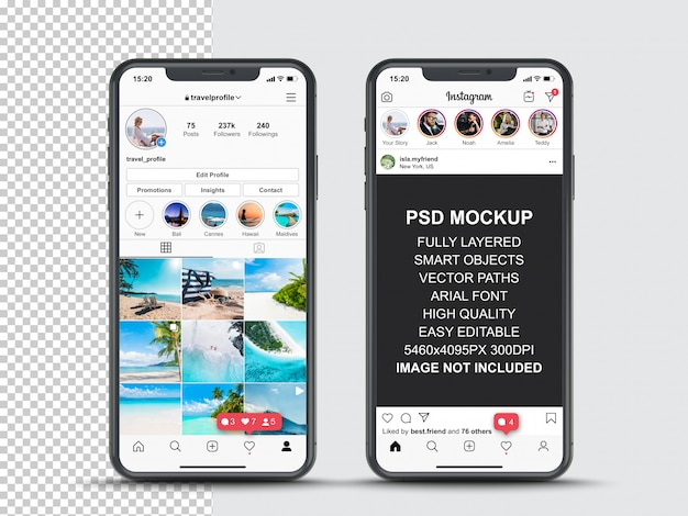 Instagram post template for profile and feed stories on smartphone. front view mobile phone mockup Premium Psd