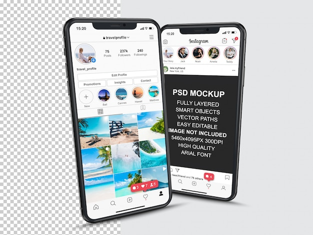 Instagram post template for profile and feed stories on smartphone. perspective view mobile phone mo