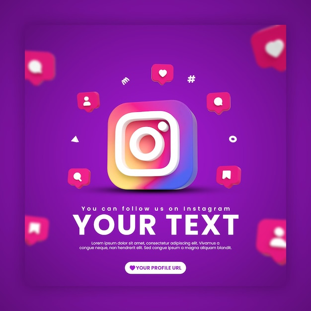 Instagram post template with icons