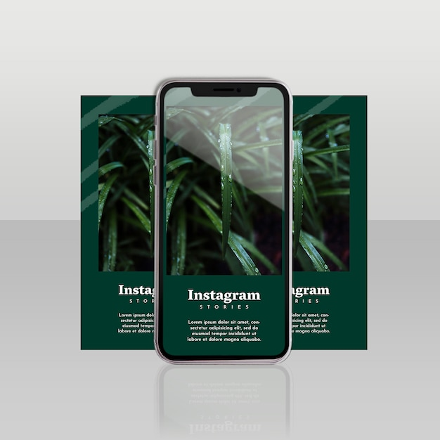 Instagram post template with smartphone and floral concept Free Psd