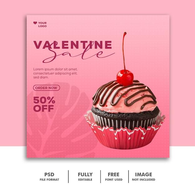 Шаблон instagram post еда розовая валентина Premium Psd